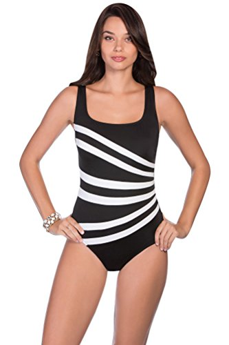 Longitude Colorblock Banded Fan One Piece Swimsuit Size 12