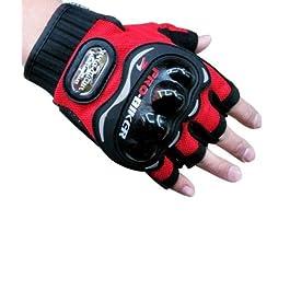 Probiker Motoway Pro Biker Half Cut Racing Biking Driving Motorcycle Gloves (Red, XL)