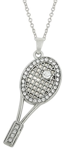 Sports Tennis Racket Crystal Pendant Necklace For Women/Girl Sport Tennis Necklace