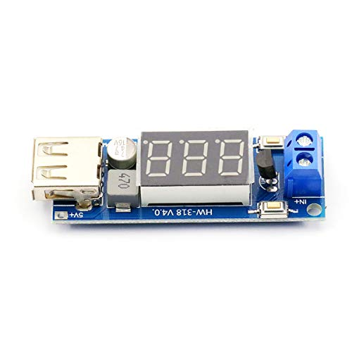 DaFuRui DC-DC Buck Voltage Converter Module,Step Down 6.5-35V to 5V 2A Volt Transformer Stabilizer Voltage Regulator Board with USB ()