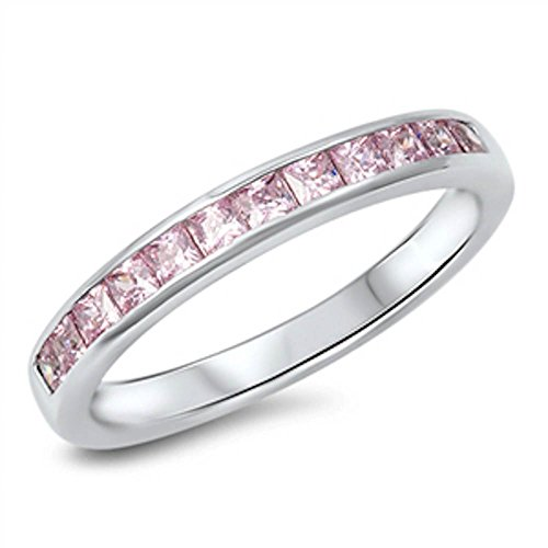 Princess Ring Pink Sapphire (Simulated Pink Sapphire Princess Cut Eternity Band .925 Sterling Silver Ring Size 6)
