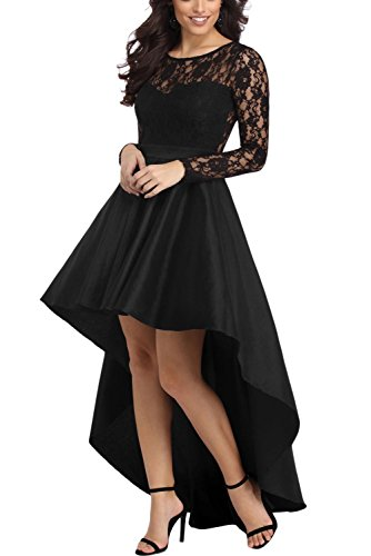 Bdcoco Women's Vintage Lace Long Sleeve High Low Cocktail Party Dress, Black, Medium