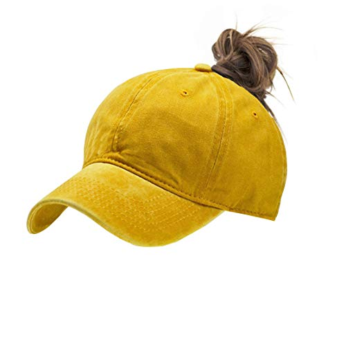 - Eohak Ponytail Baseball Hat Distressed Retro Washed Cotton Twill (Yellow)
