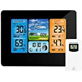 TOOGOO Digital Weather Station Thermometer Hygrometer Barometer nd Sensor Lcd Monitor Weather Forecast Indoor nd Outdoor Clock Black
