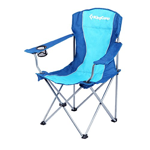 KingCamp Folding Camp Chair Steel Frame Padded with Armrest and Mesh Cup Holder Light Weight Portable Stable for Camping Picnic Backpacking Outdoor with Carry Bag