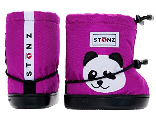 Stonz Three Season Stay-On Baby Booties, for Bare Feet Shoes, for Mild Cold Snow Weather, Panda - Purple - L -