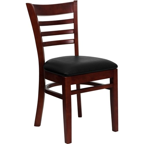 Flash Furniture Hercules Series Mahogany Finished Ladder Back Wooden Restaurant Chair - Black Vinyl Seat [XU-DGW0005LAD-MAH-BLKV-GG]