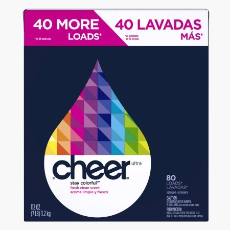 Cheer Ultra Fresh Clean Scent Powder Laundry Detergent,made for colorful clothes, 80 Loads, 112 oz (5 Boxes)