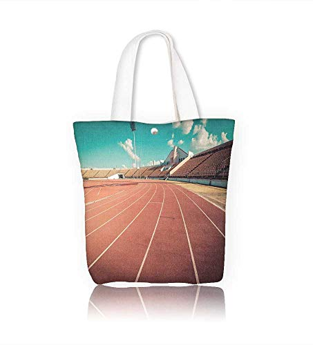 - Canvas Tote Bagred running track in stadium running track on blue sky field run in stadium Hanbag Women Shoulder Bag Fashion Tote Ba W22xH15.7xD7 INCH