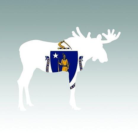 Alaska Moose Shaped Flag Sticker Decal Vinyl V2 AK elk hiking camping