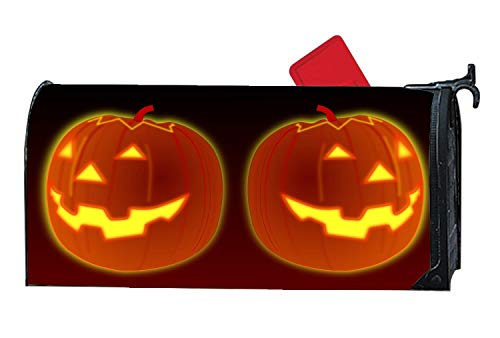 Halloween Pumpkins Glowing Mailbox Cover Magnetic MailWrap Personalized Viny Mailbox Makeover Cover Size 6.5
