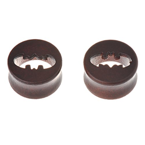 IPINK Wooden Ear Plug with Hollow Batman Logo Sold As a Pair -00 Gauge - 20MM (Batman Ear Ring)