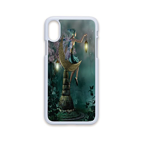Phone Case Compatible with iPhone X White Edge 2D Print,Fantasy,Little Pixie with Lantern Sitting on Moon Stone Fairytale Myth Kitsch Artwork,Gold Teal Lilac,Hard Plastic Phone Case for $<!--$9.88-->