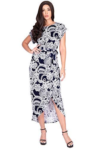 KOH KOH Womens Long Floral Print Printed Casual Asymmetrical Elegant Boat Neck Loose Summer Spring Printed Short Sleeve Sundress Midi Maxi Dress Dresses, Navy Blue & White L 12-14