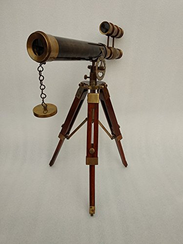Double Barel Victorian London (1915) 14'' Brass Telescope on Tripode Stand Antique Home Decor Table Top. by US HANDICRAFTS (Image #2)