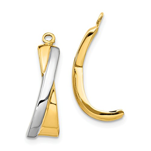 Brilliant Bijou Women's 14k Yellow Gold J Hoop Earring Jackets - Hollow and Polished Finish Cross Crucifix-over - 21 x 12 ()