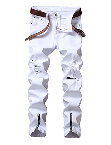 DSDZ Men's Punk Style Ripped Slim Fit Paint Jeans With Bottom Zippers (W34, White1)