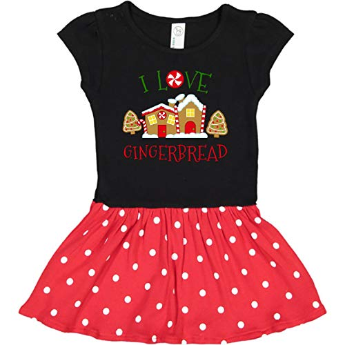 inktastic I Love Gingerbread Infant Dress 18 Months Black & Red with Polka Dots