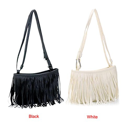 Leather Bag Tassel Black Handbag Crossbody Women Shoulder Shoulder Single Voberry wSvBUvqA