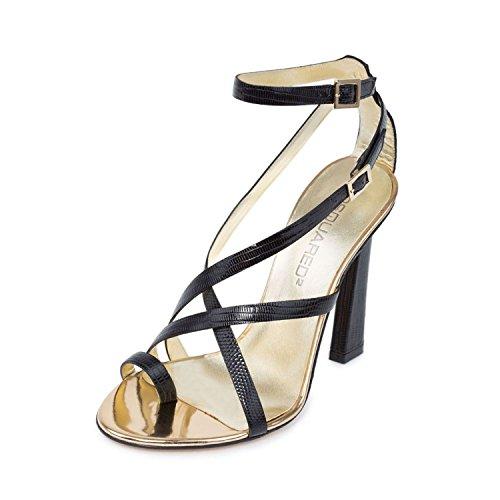 Embossed Shiny Snake - DSQUARED2 Women Black Snake Embossed Leather Toe Ring High Heel Sandals Shoes US 6 EU 36