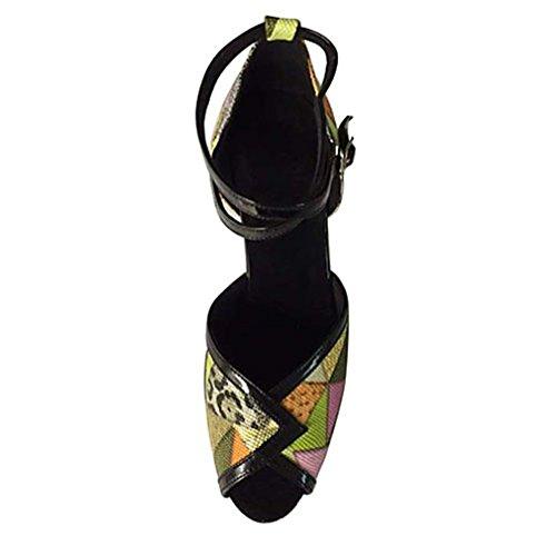 Entrenamiento Principiante Stiletto Tacón Profesional Latino Rendimiento Interior Sandalia Salsa Mujer Amarillo Semicuero Amarillo 8q06Znw
