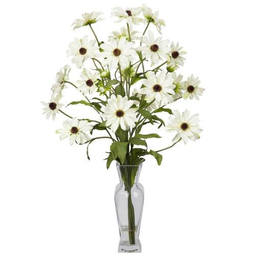 Nearly Natural Cosmos W/Vase Silk Flower Arrangement In White