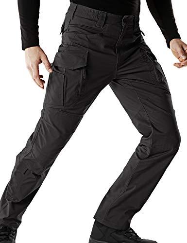 CQR Men's Flex Stretch Tactical Work Outdoor Operator Rip-Stop Trouser Pants EDC, Flex Multipocket(tfp521) - Black, 34W/32L