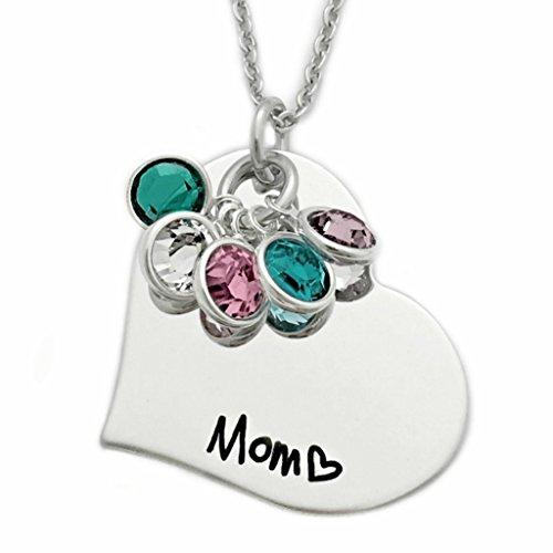 Birthstone Mom Heart Necklace - Personalized Jewelry - 1227