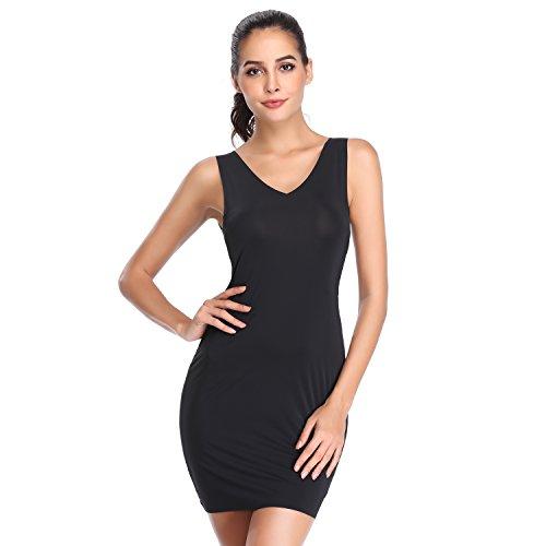 Full Slips for Women Under Dresses Underwear Seamless Cami Slip Body Shaping Sleeveless Shapewear (Black, S/M) (Cami Under)