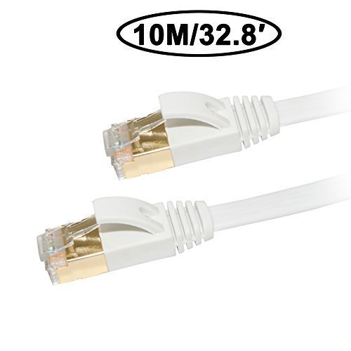 Cat 7 Ethernet Cable 33 ft, Dseap Flat Fast 10 Gigabit Shielded (STP) RJ45 LAN Network Patch Cord/Male to Male/Gold Plated, for Computer Switch, Hub, PC, IP Cameras, Modem, Router, (White, 10 M) ()