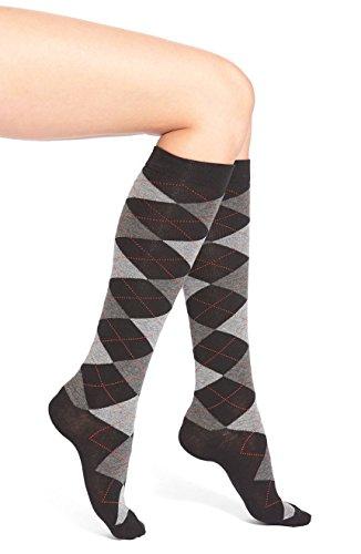 Hue Argyle Knee Socks (Black/Grey (Hue Knee High Socks)