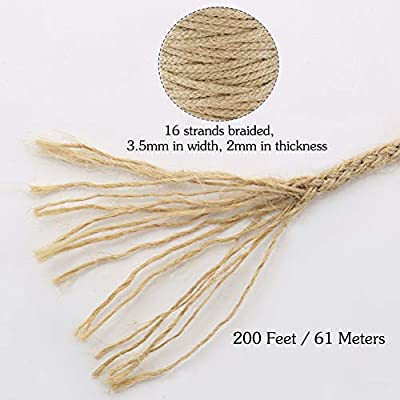 Tenn Well Braided Jute Twine, 200Feet 3.5mm Wide Natural Jute Rope for Artworks and Crafts, Macrame Projects, Gardening Applications (8 Strands) : Office Products