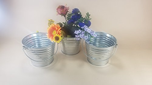 3 pc Galvanized Bucket w/ notched handle 2 qt #129 flower pot weddings table