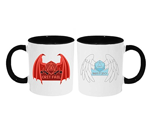 - Crit Fail [Critical Fail] Nat 20 Gaming Dice Roll With Devil and Angel Wings Coffee or Tea 11oz Mug - Perfect Gift for Steampunk, Dnd Gamers and more