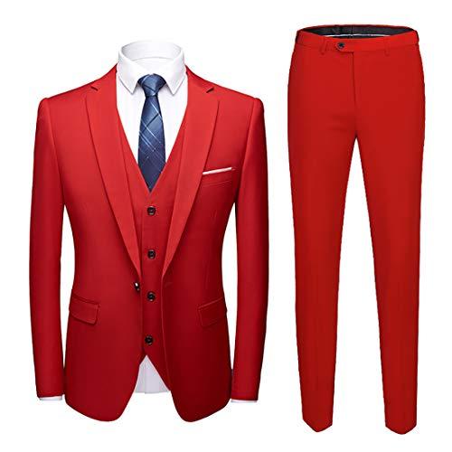 MY'S Men's Suit Slim Fit One Button 3-Piece Suit Blazer Dress Business Wedding Party Jacket Vest & Pants Red