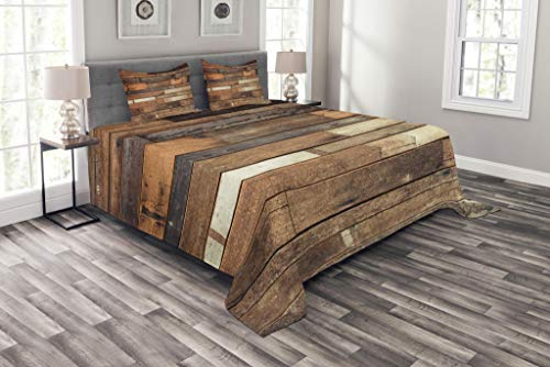 Ambesonne Wooden Bedspread Set King Size, Rustic Floor Planks Print Grungy Look Farm House Country Style Walnut Oak Grain Image, Decorative Quilted 3 Piece Coverlet Set with 2 Pillow Shams, Brown