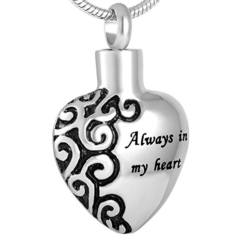 Pet Memorial Jewelry Urn Pendant - Choose from 6 Styles - Keepsake Paw Print Series Pet Memorial Cremation Jewelry for Dog, Cat, Animal Ashes (Always in Heart - Half Design) ()