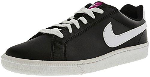 (NIKE Women's Court Majestic Black/White Fuchsia Flash Ankle-High Leather Tennis Shoe - 10M)