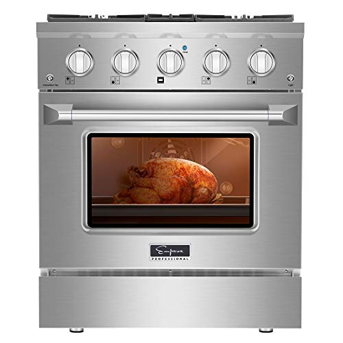 Empava Stainless Steel 30 in. 4.2 cu. ft. Pro-Style Slide-In Single Oven Gas Range with 4 Sealed Ultra High-Low Burners…