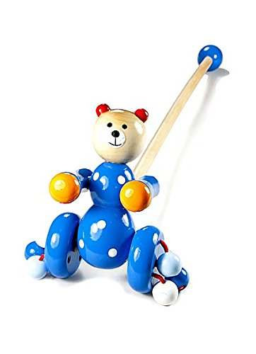 Jouet à tirer à pousser en bois premier age pour bébé ou enfants garçons ou filles ours bleu