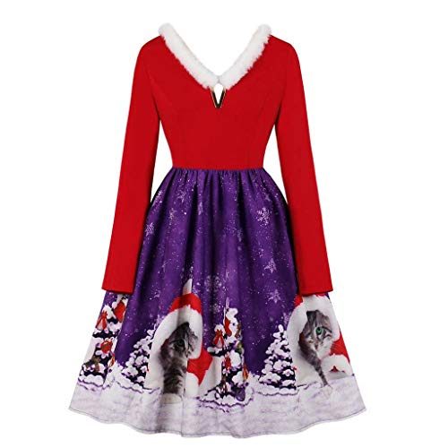 Christmas Women Vintage Dress Sexy Long Sleeve Xmas Cat Print Fashion Cute Cocktail Evening Party Swing Dress with Belt Purple (David Meister Strapless Dress)
