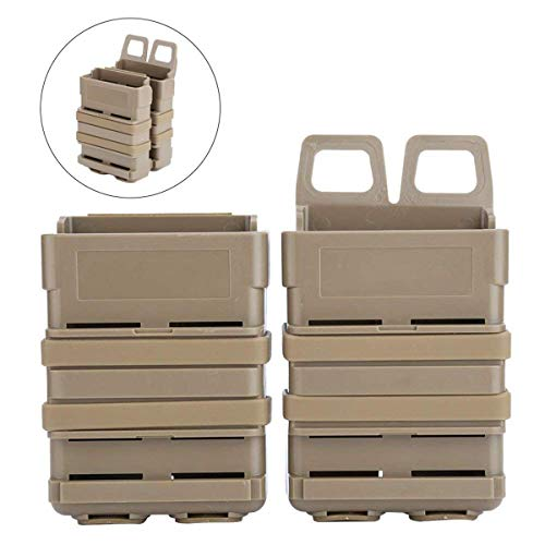YVO Fast Mag Pouch 5.56 Molle Double Magazine Pouch Bag Holder Attachment Box Pouches for M4 Style Mag, Belt, Molle Strike System Vest (Tan)