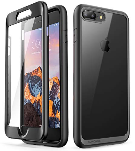 Case Rubberized Protector Shield Black (iPhone 8 Plus Case,SUPCASE [Unicorn Beetle Style Series] Clear Full-Body Rugged Bumper Case with Built-in Screen Protector for iPhone 8 Plus & iPhone 7 Plus (Black))