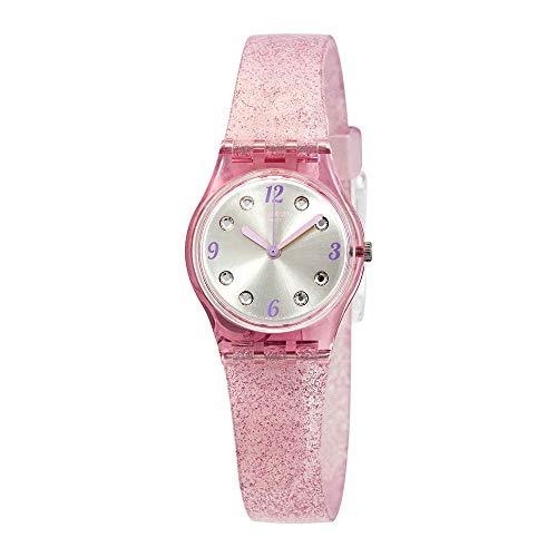 Swatch Originals Rose Glistar Silver Dial Silicone Strap Ladies Watch LP132C