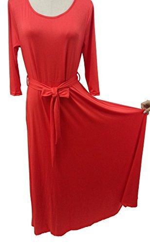 Vídeo de las mujeres o cuello 3/4Manga alta cintura de cóctel largo Maxi vestido Rosso