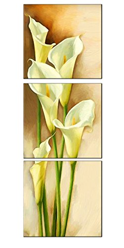 Amoy Art -3 Piece Yellow Calla Lily Flowers Modern Painting Prints on Canvas Wall Art Vertical Stretched and Framed Pictures Artwork for Living Room Easy to Hang (12x12inch x3pcs) ()