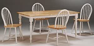 5pc Casual Dining Table and Chairs Set with Natural Top in White Finish