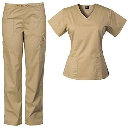 Medgear Women's Solid Scrubs Set Eversoft 2-Way Stretch Fabric 7895ST (L, Sand)