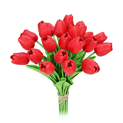 MACTING 22 Heads Latex Real Touch Artificial Flowers Tulips, Fake PU Tulips Flowers for Bridal Bouquet Wedding Home Party Decor (Red)