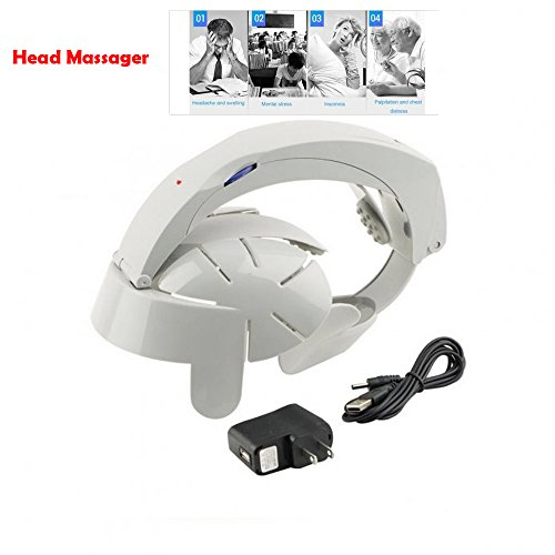 zinnor Electric Head Massager Helmet Scalp Humanized Design Household Home Adjustable 8 Types Brain Massage Easy Acupuncture Points Gray Health Care